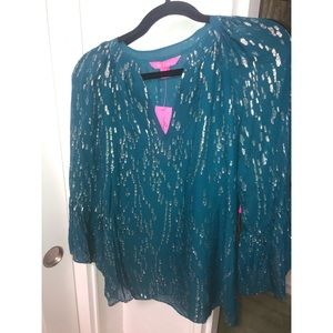 NWT Lilly Pulitzer Matilda Top in Inky Tidal SZ XS